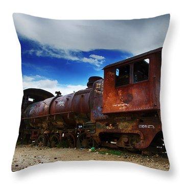 Train Graveyard Uyuni Bolivia 15 Throw Pillow