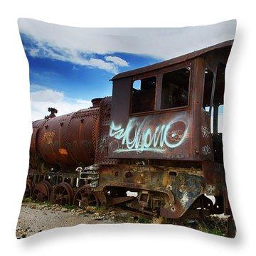 Train Graveyard Uyuni Bolivia 16 Throw Pillow