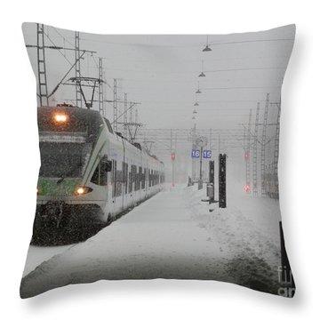 Train In Helsinki Throw Pillow by Margaret Brooks