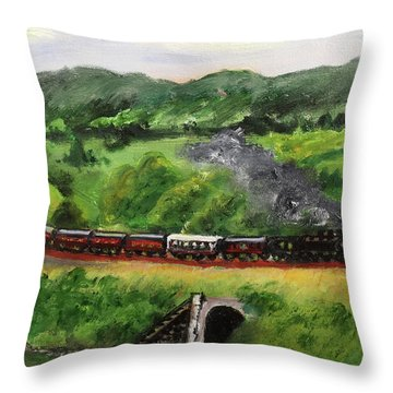 Train In The Country Throw Pillow