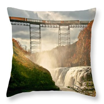 Train Over Letchworth Throw Pillow by Ken Marsh