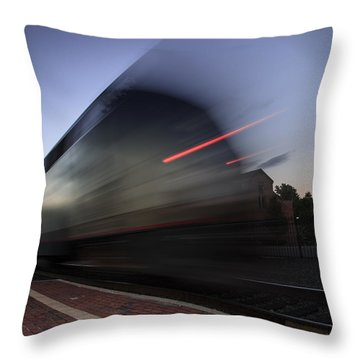 Train Pulling Out Of The Station Throw Pillow