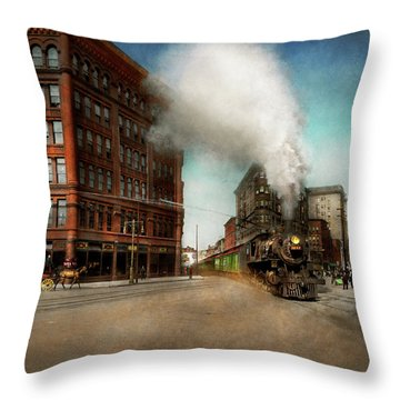 Throw Pillow featuring the photograph Train - Respect The Train 1905 by Mike Savad