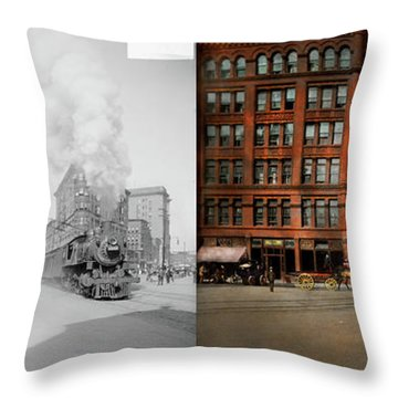 Throw Pillow featuring the photograph Train - Respect The Train 1905 - Side By Side by Mike Savad