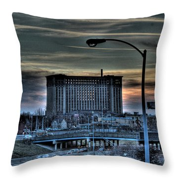 Train Station Detroit Mi Throw Pillow