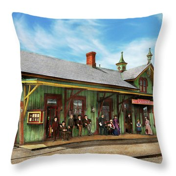 Throw Pillow featuring the photograph Train Station - Garrison Train Station 1880 by Mike Savad