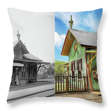 Throw Pillow featuring the photograph Train Station - Garrison Train Station 1880 - Side By Side by Mike Savad