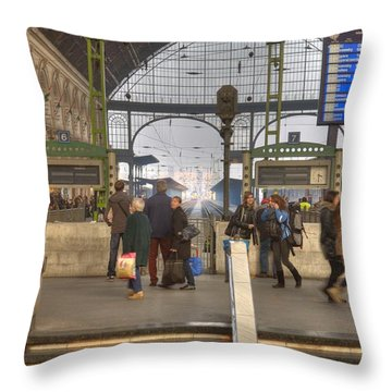 Train Station In Budapest Throw Pillow