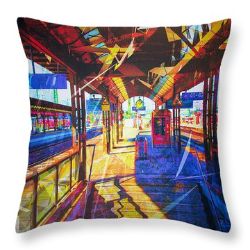 Train Station No. 2 Throw Pillow by James Bethanis