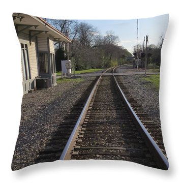 Throw Pillow featuring the photograph Train Station View by Aaron Martens