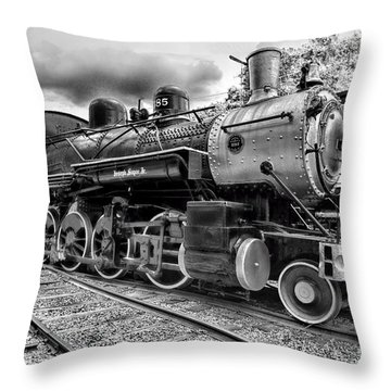Train - Steam Engine Locomotive 385 In Black And White Throw Pillow