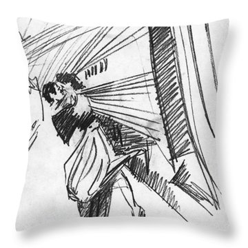 Train Stop Throw Pillow by John Keaton