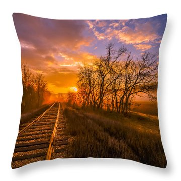 Throw Pillow featuring the photograph Train Track Sunrise by Brian Stevens
