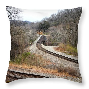 Train Tracks Across The New River - Radford Virginia Throw Pillow