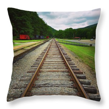 Throw Pillow featuring the photograph Train Tracks by Linda Sannuti