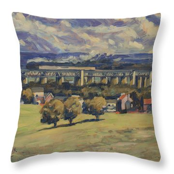 Throw Pillow featuring the painting Train Vapeur Moresnet by Nop Briex