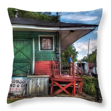 Train - Yard - The Train Station Throw Pillow by Mike Savad
