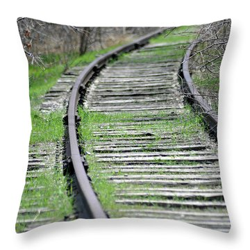 Throw Pillow featuring the photograph Trainless Track by Juls Adams