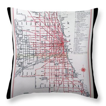 Trains Vintage Map Chicago Surface Lines Throw Pillow