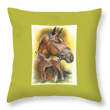 Throw Pillow featuring the mixed media Trakehner by Barbara Keith