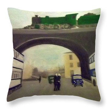1950s Tram, Locomotive, Bus And Cars In Sheffield  Throw Pillow