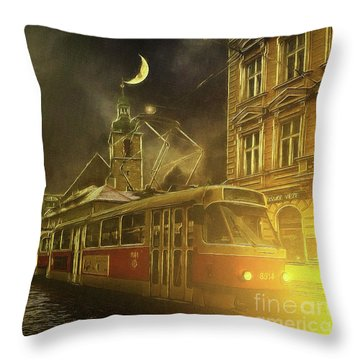 Tramatic - Prague Street Scene Throw Pillow