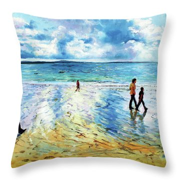 Tramore Beach Waterford Throw Pillow