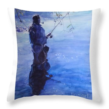 Watercolor Tranquil Fishing Throw Pillow