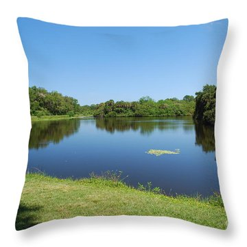 Throw Pillow featuring the photograph Tranquil Lake by Gary Wonning