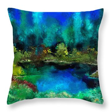 Tranquil Pond Throw Pillow by Dee Flouton