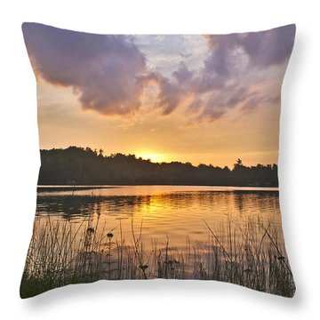 Tranquil Sunset On The Lake Throw Pillow