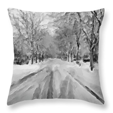 Throw Pillow featuring the painting Tranquil Winter Snow Street With Car Tracks by Exclusive Canvas Art