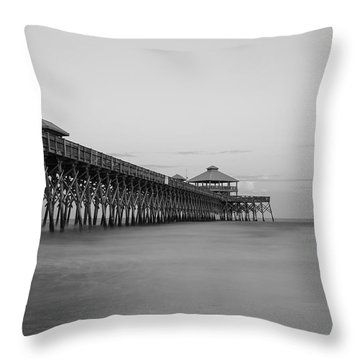 Tranquility At Folly Grayscale Throw Pillow