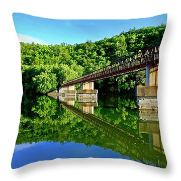 Tranquility At The James River Footbridge Throw Pillow