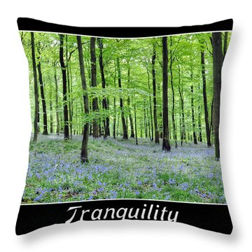 Tranquility - Bluebells In Woods Throw Pillow by Geraldine Alexander