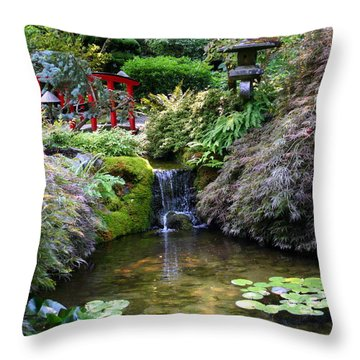 Tranquility In A Japanese Garden Throw Pillow by Laurel Talabere