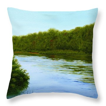 Tranquility On Taylor's Creek Throw Pillow by Robin Capecci