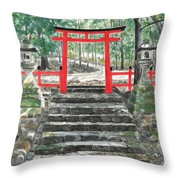 Tranquility Torii Throw Pillow