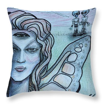 Throw Pillow featuring the drawing Transformation by Similar Alien