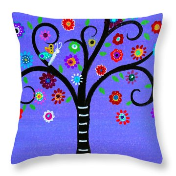 Throw Pillow featuring the painting Transformation Tree Of Life by Pristine Cartera Turkus