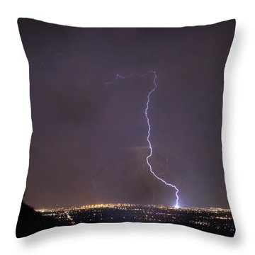Throw Pillow featuring the photograph It's A Hit Transformer Lightning Strike by James BO Insogna