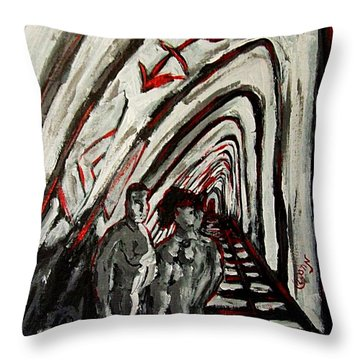 Transgender Entity Nude In Modern Hallway With Arches And Gender Symbols Of Trans Changes Struggle Throw Pillow