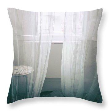Transparent White Curtains Throw Pillow