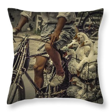 Throw Pillow featuring the photograph Transport By Bicycle In China by Heiko Koehrer-Wagner