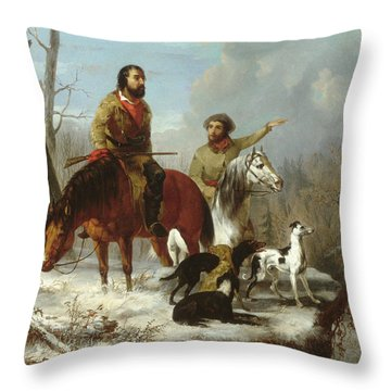 Throw Pillow featuring the painting Trappers             by Trego and Williams