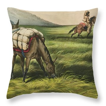 Trappers On The Prairie  Peace Or War Throw Pillow