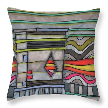 Trash Can In The Alley Throw Pillow by Sandra Church