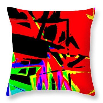 Throw Pillow featuring the digital art Trator Crash by Lola Connelly