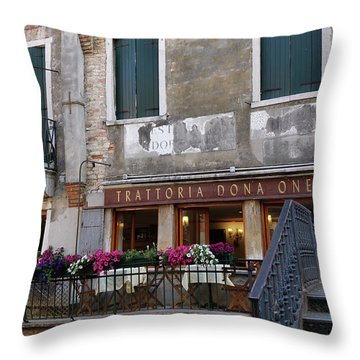 Trattoria Dona Onesta In Venice, Italy Throw Pillow