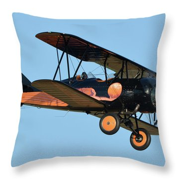 Travel Air D-4-d Nc472n Chino California April 29 2016 Throw Pillow by Brian Lockett